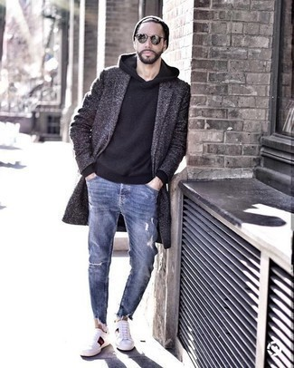 How to Wear a Beanie For Men: For a cool and casual ensemble, choose a charcoal overcoat and a beanie — these pieces go nicely together. If you don't know how to finish off, complete your ensemble with white print canvas low top sneakers.