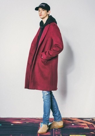 500+ Outfits For Men In Their Teens: For a look that's super straightforward but can be modified in a variety of different ways, consider wearing a red overcoat and blue ripped jeans. Rounding off with beige suede chelsea boots is a surefire way to inject a touch of elegance into your ensemble. If you're not sure how to dress as a teenage boy, this ensemble is a safe option.