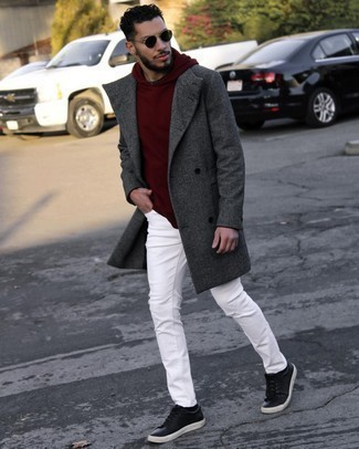 Coat Outfits For Men: This combo of a coat and white jeans is the perfect base for an outfit. With footwear, go for something on the dressier end of the spectrum and complement this look with black leather low top sneakers.