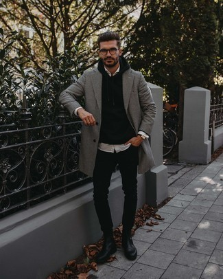 Clear Sunglasses Outfits For Men: This pairing of a white and black houndstooth overcoat and clear sunglasses combines comfort and efficiency and helps you keep it simple yet contemporary. Step up your look by finishing off with black leather chelsea boots.
