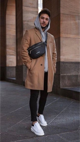 How to Wear a Black Leather Fanny Pack For Men: A camel overcoat and a black leather fanny pack are a savvy combo worth integrating into your day-to-day fashion mix. A pair of white and black leather low top sneakers integrates well within a ton of looks.