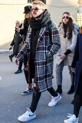 How to Wear Brown Sunglasses In a Relaxed Way For Men: To put together an off-duty getup with a modern finish, try pairing a burgundy plaid overcoat with brown sunglasses. Finish off with white and navy leather low top sneakers to mix things up a bit.