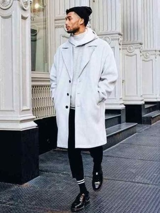 How to Wear a Grey Turtleneck For Men: To put together a casual look with a twist, rock a grey turtleneck with black chinos. Black leather derby shoes will effortlesslly class up even the simplest outfit.