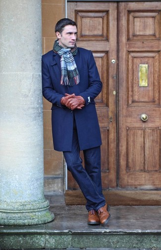 How to wear: navy overcoat, navy jeans, brown leather brogue boots, blue plaid scarf