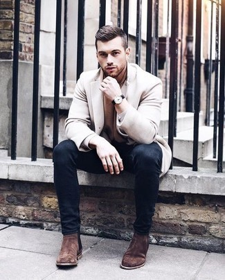 How to Wear Brown Suede Chelsea Boots For Men: A beige overcoat and navy jeans worn together are a wonderful match. To give your overall ensemble a more sophisticated spin, complete this outfit with a pair of brown suede chelsea boots.