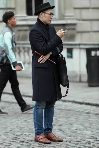How to Wear a Black Wool Hat For Men: A navy overcoat and a black wool hat are great menswear must-haves to integrate into your daily lineup. Bring an elegant twist to an otherwise mostly dressed-down look by wearing brown leather double monks.
