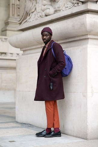 How to wear: dark purple overcoat, red print long sleeve shirt, orange chinos, black leather loafers