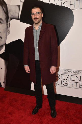 How to wear: burgundy overcoat, black and white vertical striped long sleeve shirt, black chinos, black leather derby shoes