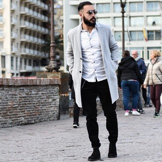 How to wear: grey overcoat, white long sleeve shirt, black corduroy chinos, black suede chelsea boots