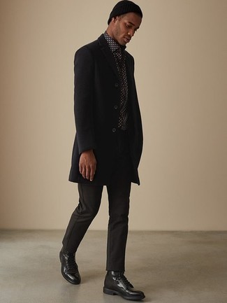 How to Wear Black Leather Casual Boots For Men: This pairing of a black overcoat and black chinos is a winning option when you need to look effortlessly neat but have no extra time. If you're wondering how to round off, complete your ensemble with a pair of black leather casual boots.