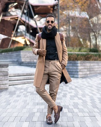 Dark Brown Leather Tassel Loafers Cold Weather Outfits: Pairing a camel overcoat with khaki chinos is an on-point pick for a casually stylish ensemble. Want to go all out on the shoe front? Complement your getup with dark brown leather tassel loafers.