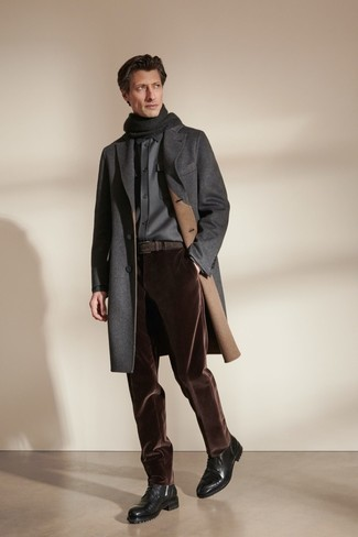 Black Leather Casual Boots Outfits For Men: For an ensemble that's worthy of a modern fashion-forward gent and casually sophisticated, opt for a charcoal overcoat and dark brown corduroy chinos. Look at how well this getup goes with a pair of black leather casual boots.