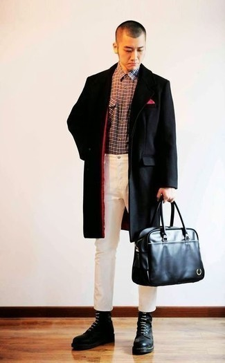 Black Leather Casual Boots Outfits For Men: Show off your refined self in a black overcoat and white chinos. We love how a pair of black leather casual boots makes this look whole.