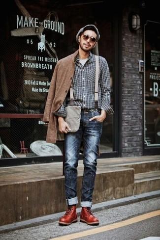 Men's Brown Overcoat, Charcoal Plaid Long Sleeve Shirt, Grey Crew-neck T-shirt, Navy Jeans