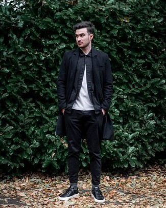 How to Wear a Black Long Sleeve Shirt For Men: For a casually cool ensemble, pair a black long sleeve shirt with black chinos — these pieces fit nicely together. Change up your ensemble with more laid-back footwear, like these black leather low top sneakers.