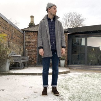 Grey Beanie Outfits For Men: Pair a grey houndstooth overcoat with a grey beanie for a modern casual and fashionable getup. If you need to immediately smarten up your look with shoes, opt for a pair of dark brown suede casual boots.