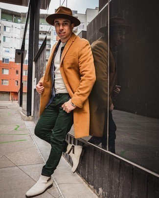 Silver Watch Outfits For Men: Go for a tobacco overcoat and a silver watch to assemble a casual street style and stylish ensemble. Why not add white suede chelsea boots to the equation for an extra touch of elegance?