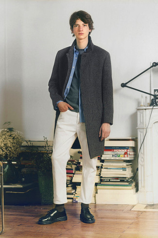500+ Outfits For Men In Their Teens: A charcoal houndstooth overcoat and white jeans are absolute mainstays if you're crafting a smart casual wardrobe that holds to the highest menswear standards. Polish off this ensemble with the help of black leather derby shoes. Sport this pairing when you want to project a more mature image as a teenage guy.