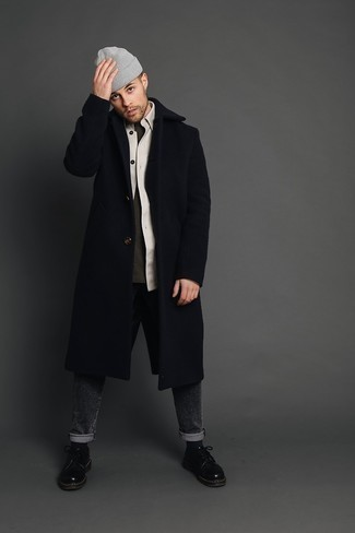 Charcoal Jeans Outfits For Men: We love how this classic and casual pairing of a navy overcoat and charcoal jeans immediately makes you look stylish. Want to play it up on the shoe front? Complement this look with black leather derby shoes.