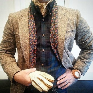How to wear: brown overcoat, navy and green plaid long sleeve shirt, navy jeans, yellow bandana