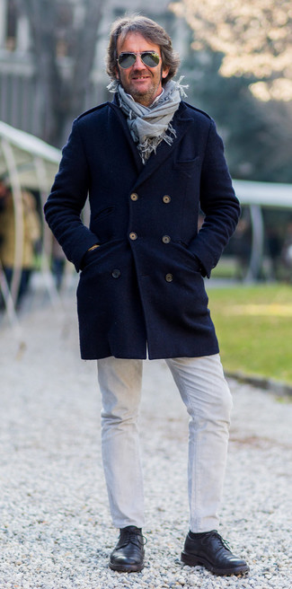 How to wear: navy overcoat, white long sleeve shirt, white jeans, black leather derby shoes