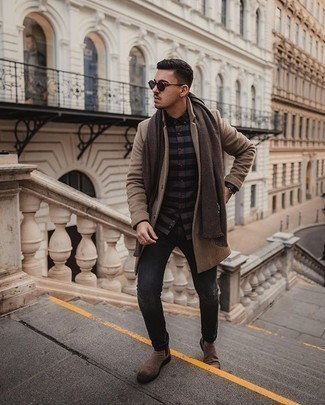 Dark Green Sunglasses Outfits For Men: This edgy combination of a camel overcoat and dark green sunglasses can take on different forms according to how it's styled. If you want to effortlessly dial up this getup with shoes, why not complement this getup with a pair of brown suede chelsea boots?