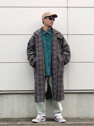 Mint Pants Outfits For Men: When it comes to masculine refinement, this combination of a brown plaid overcoat and mint pants never disappoints. For a more sophisticated spin, add a pair of tan canvas low top sneakers.