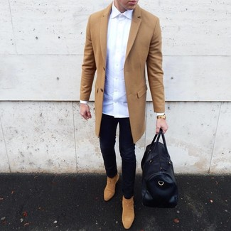 How to wear: camel overcoat, white long sleeve shirt, black skinny jeans, tan suede chelsea boots