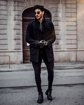 How to Wear Black Leather Gloves For Men: You're looking at the hard proof that a black overcoat and black leather gloves look awesome when paired up in a contemporary outfit. Unimpressed with this ensemble? Enter black leather chelsea boots to mix things up a bit.