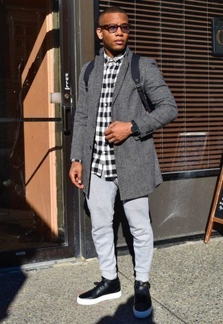 How to Wear Grey Sweatpants For Men: For something on the relaxed side, test drive this pairing of a grey plaid overcoat and grey sweatpants. For something more on the daring side to finish this outfit, introduce a pair of black leather high top sneakers to the mix.