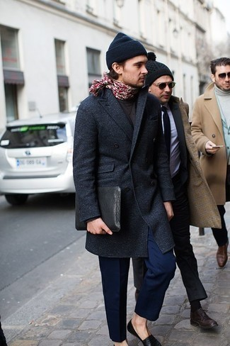 Red Paisley Scarf Outfits For Men: This combo of a navy overcoat and a red paisley scarf has this very casual and effortless kind of vibe. Black leather loafers are guaranteed to inject a hint of class into your look.