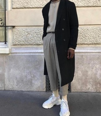 White Athletic Shoes Outfits For Men: Wear a black overcoat with grey check chinos to achieve an interesting and modern-looking ensemble. Play down the classiness of your look by slipping into white athletic shoes.
