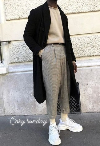 Men's Outfits 2021: This combo of a black overcoat and grey check chinos will add effortlessly smart essence to your ensemble. For a more laid-back feel, why not introduce white athletic shoes to the mix?