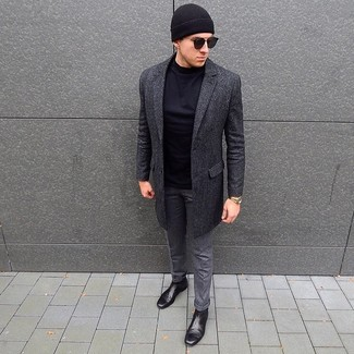How to wear: charcoal overcoat, black long sleeve t-shirt, grey wool dress pants, black leather chelsea boots