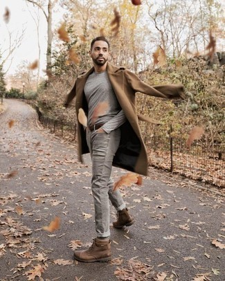 How to Wear a Dark Brown Leather Belt For Men: Consider wearing a camel overcoat and a dark brown leather belt for a look that's both laid-back and practical. Brown leather casual boots are an effective way to add a confident kick to the ensemble.