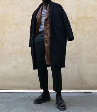 How to wear: brown check overcoat, black overcoat, grey crew-neck t-shirt, dark green chinos