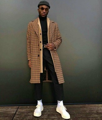 How to wear: camel check overcoat, camel overcoat, black turtleneck, black dress pants