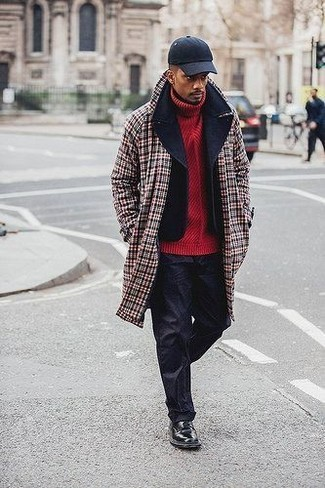 How to wear: red plaid overcoat, black pea coat, red knit turtleneck, black chinos