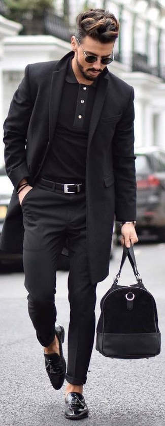 How to wear: black overcoat, black polo, black dress pants, black leather tassel loafers