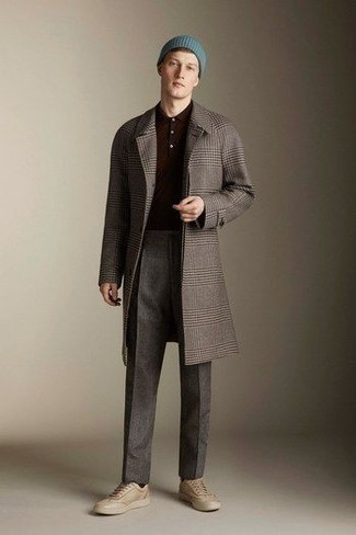 Beige Leather Low Top Sneakers Outfits For Men: Try teaming a grey plaid overcoat with charcoal dress pants for truly classic attire. Let your styling skills really shine by finishing off this look with beige leather low top sneakers.