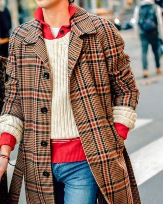 How to wear: brown plaid overcoat, red polo neck sweater, beige cable sweater, white crew-neck t-shirt