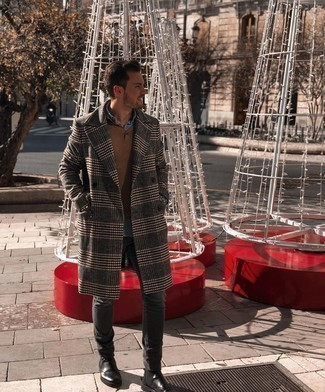 Charcoal Jeans Fall Outfits For Men: Wear a charcoal plaid overcoat and charcoal jeans to create a proper and polished look. Feeling brave? Spice things up by rocking a pair of black leather chelsea boots. This combination is a viable idea if you're hunting for a knockout summer-to-fall ensemble.
