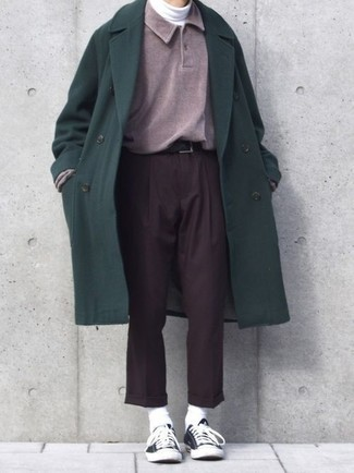 How to wear: dark green overcoat, purple polo neck sweater, white turtleneck, dark brown dress pants