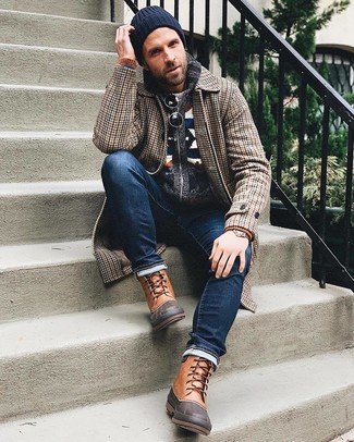 How to wear: brown houndstooth overcoat, navy fair isle shawl cardigan, grey crew-neck sweater, navy jeans