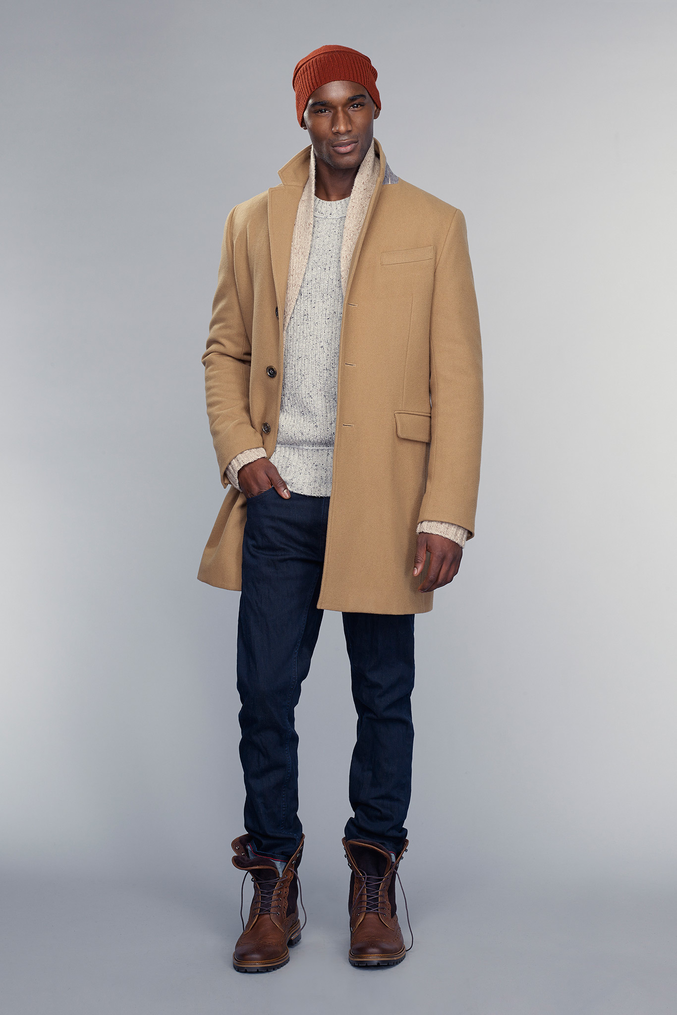 Men's Camel Overcoat, Beige Shawl Cardigan, White Crew-neck ...
