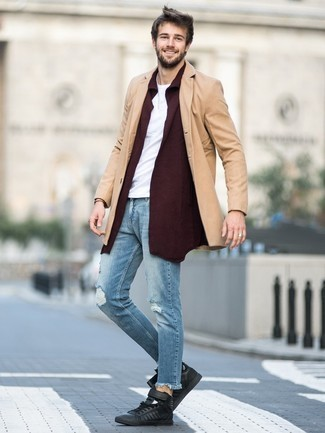 Burgundy Shawl Cardigan Outfits For Men: A burgundy shawl cardigan and light blue jeans paired together are a smart match. With shoes, you could take a more casual route with a pair of black leather high top sneakers.