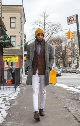 No matter where you go over the course of the day, you'll be stylishly prepared in a grey herringbone overcoat and white jeans. Dark brown leather chelsea boots will instantly dress up even the laziest of looks. When staying inside on a frosty winter day is not a possibility, this getup just might get you through the day.
