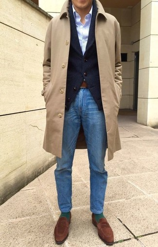 How to wear: camel overcoat, black shawl cardigan, light blue vertical striped dress shirt, blue jeans