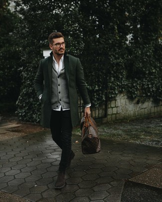 Clear Sunglasses Outfits For Men: A dark green overcoat and clear sunglasses are amazing menswear elements to incorporate into your daily casual routine. Dark brown suede chelsea boots are an easy way to inject a hint of refinement into this ensemble.