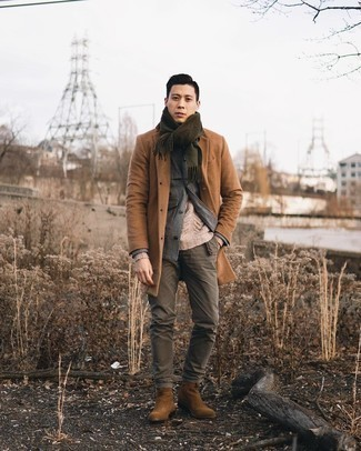 Olive Chinos with Camel Overcoat Outfits: A camel overcoat and olive chinos worn together are a perfect match. Brown suede chelsea boots are the most effective way to punch up this look.